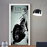 Gzhihine custom made 3d door stickers Vintage Retro Motorcycle Nostalgic Scooter in front of Vehicle Traffic Urban Picture Red Umber For Room Decor 30x79