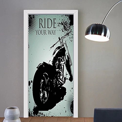 Gzhihine custom made 3d door stickers Vintage Retro Motorcycle Nostalgic Scooter in front of Vehicle Traffic Urban Picture Red Umber For Room Decor 30x79 by Gzhihine