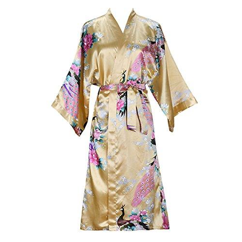 ellenwell Women's Kimono Robe Peacock & Blossoms Satin Nightwear(Small,Yellow)