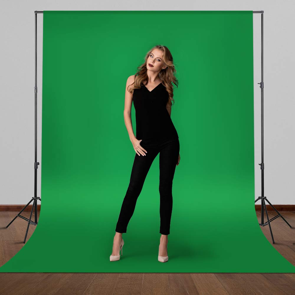 CRAPHY Portable Photo Studio 10 x 6.5ft Background Stand Kit Backdrop Support System with Muslin Cotton Background (Green Black White, 9ft x 6ft) and Carrying Bag by CRAPHY (Image #2)