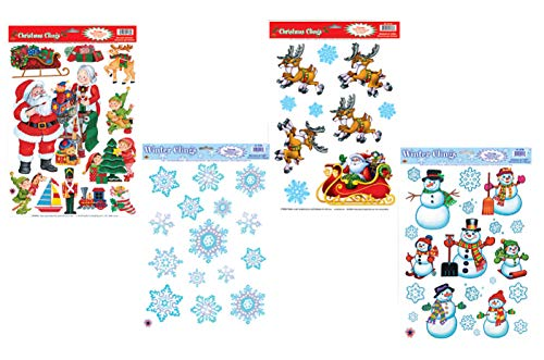 Winter Christmas Santa Holiday Window Clings | Seasonal Static Decals Featuring Santa's Workshop, Reindeer Sleigh, Snowmen, and Snowflakes and More
