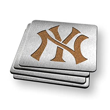 MLB New York Yankees Boasters, Heavy Duty Stainless Steel Coasters, Set of 4