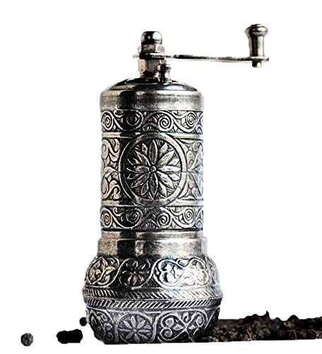 Turkish Pepper Mill - Bazaar Anatolia Turkish Grinder, Spice Grinder, Salt Grinder, Pepper Mill (Dark Silver, 4.2