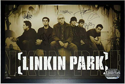 Linkin Park 6X Group Signed Tour Poster - JSA COA Authenticated - Professionally Framed 24x36