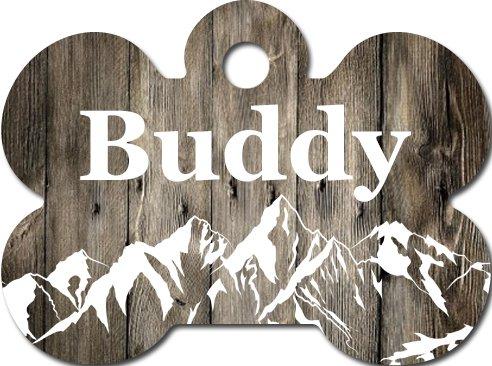 Custom Pet ID Tag Bone Shaped Pet Tag Wood Dog ID Tag Mountain Pet ID Tags 1.5