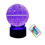 Amore 2018 Star Wars Death Star 3D Night Light LED Light Remote Control 7 Color Change Acrylic Plate USB Charging Christmas Gift Kid Toy Gift/Children Home Decoration/Bedroom Table/Desk Lamp Lighting