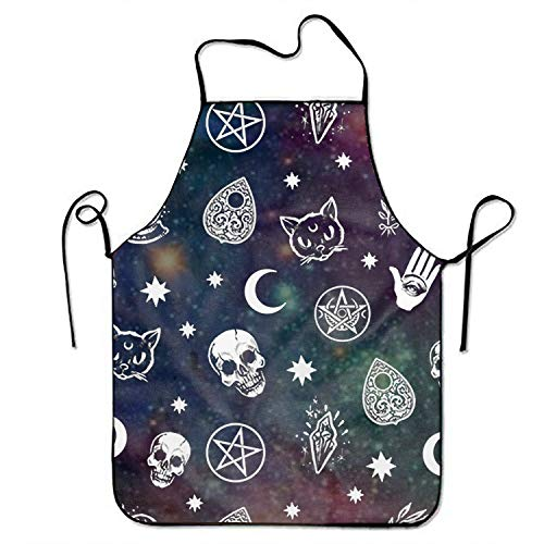Ikionier Unisex Kitchen Aprons Witch Skulls Magic Cats Chef Apron Cooking Apron Barbecue Aprons