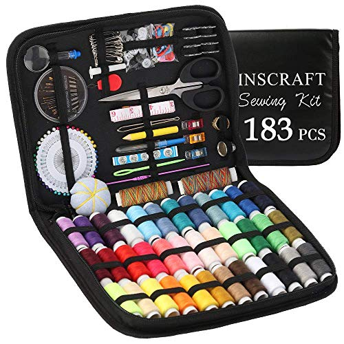 Sewing Kit, 183 Premium Sewing Supplies, 38 XL Thread Spools, Suitable for Traveller, Adults, Kids, Beginner, Emergency, DIY and Home By Inscraft -