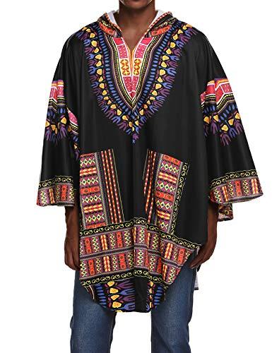 COOFANDY Mens Poncho Cape Oversized Hoodie Dashiki African Print Irregular Coat Christmas Costume Hooded Cloak