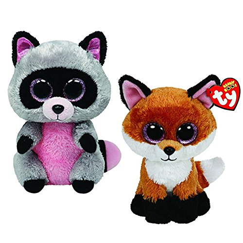 Maven Gifts: Ty Beanie Boos 2-Pack  Rocco the Raccoon with Slick the Brown Fox  Lovable Plush Animals with Glittery Eyes