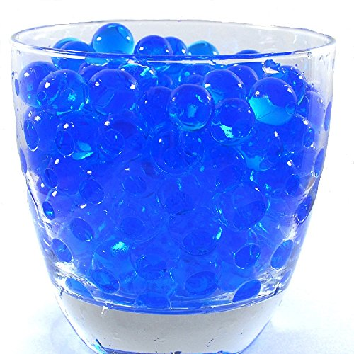 JellyBeadZ Brand Water Beads Blue Centerpiece Wedding Gel 8 Ounces Makes 6 - Glass Beads Deco
