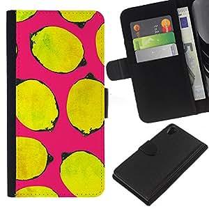 All Phone Most Case / Oferta Especial Cáscara Funda de cuero Monedero Cubierta de proteccion Caso / Wallet Case for Sony Xperia Z2 D6502 // Yellow Life Art Pink Minimalist
