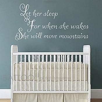BATTOO Let Her Sleep Wall Decal   Nursery Wall Decal   Girl Bedroom Decor    Baby