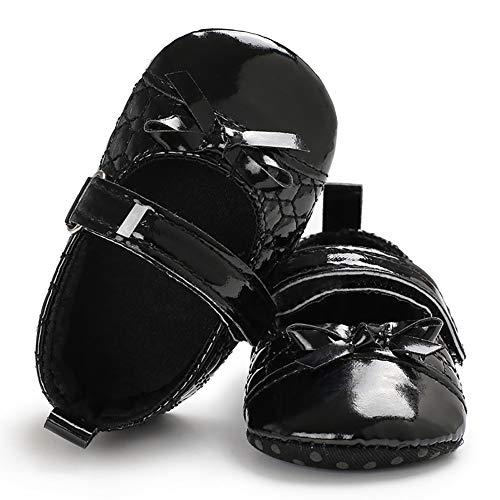 (yuye-xthriv Faux Leather Infant Baby Girls Bowknot Soft Anti-Slip Prewalker Toddler Shoes Black 11(3-5M) )