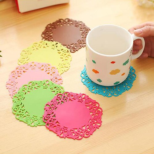 wsloftyGYd - Juego de 6 manteles individuales de silicona con diseño de flores de encaje, Multicolor, 1