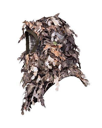 North Mountain Gear Ghillie Camouflage Face Mask - Hunting Accessories - Hunting Hat - Turkey Hunting - Hunting Mask - Camo Face Mask - 3D Leafy Balaclava Airsoft Paintball (Woodland Brown)
