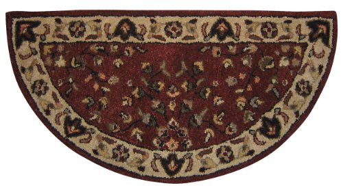 - Red W/ Beige Hand-tufted 100% Wool Hearth Rug