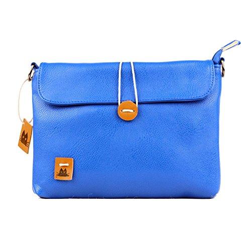 Toping fine Women Messenger Bags Vintage Pu Leather Preppy Style Candy Color Retro Cross Body Handbag School Ladie Casual bolsas button 027 blue