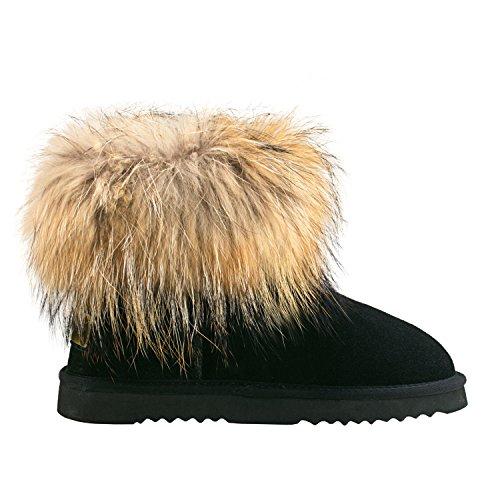 Plates de Boots Doublure Courtes Neige D9251 Femme Shenduo Bottes Chaude Hiver Cuir C8wXBBq