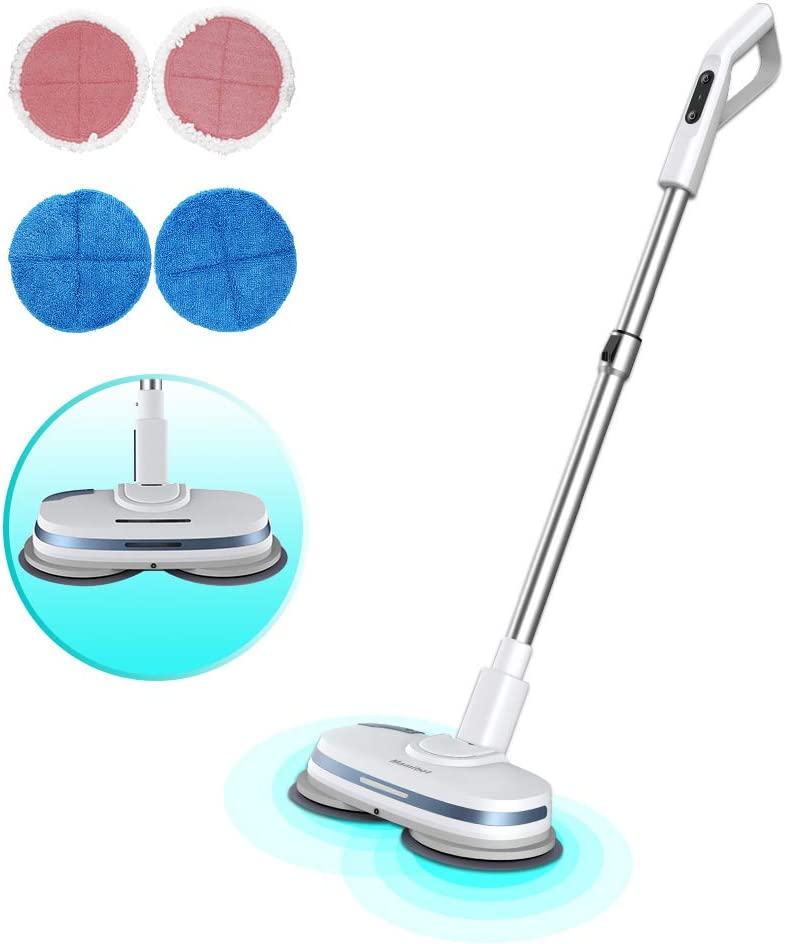 Mamibot Cordless Electric Mop for Floor Cleaning Dual Spin Mopping Polisher 3-in-1 Scrubber Waxer Floor Cleaner with Water Spray,LED, Adjustable Handle for Wooden Floor Tile Marble Vinyl and Laminated Flooring(White)