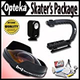 Opteka Deluxe ''Skaters'' Package (Includes the Opteka 0.3X Ultra Fisheye Lens, X-Grip Handle & VL-20 LED Video Light for 72mm Camcorders