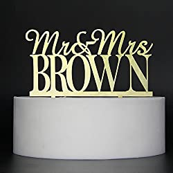 LOVELY BITON Gold Mr&Mrs Brown Cake Topper Shining Numbers Letters for Wedding, Birthday, Anniversary, Party.