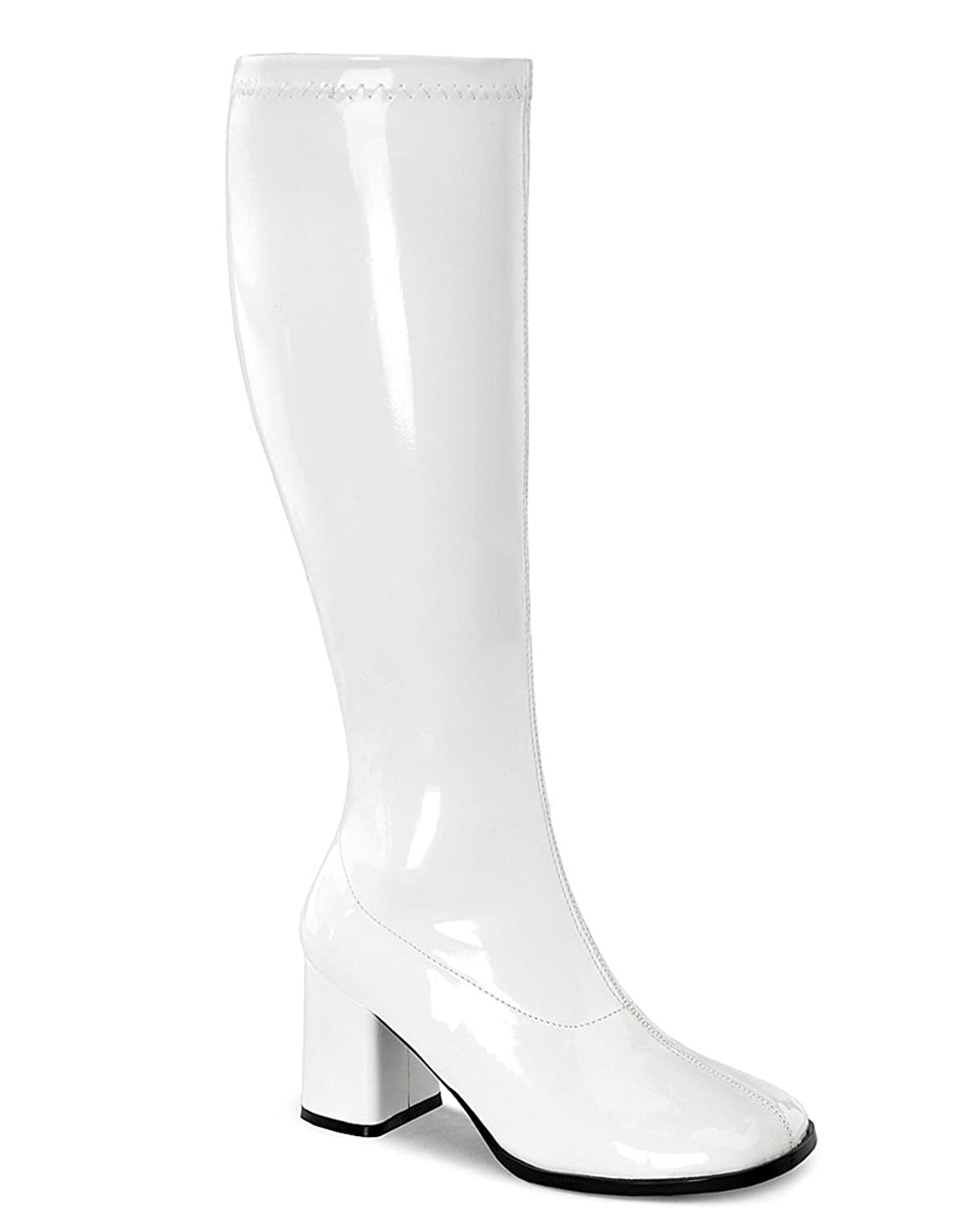 Womens Knee High Boots White GOGO 3 Inch WIDE CALF Sexy Block Heel Knee Boot Pat B002A1BT1Q 7 B(M) US