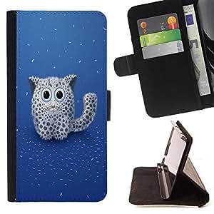 BullDog Case - FOR/HTC One M8 / - / Cute Fluffy Mountain Lion Cat /- Monedero de cuero de la PU Llevar cubierta de la caja con el ID Credit Card Slots Flip funda de cuer