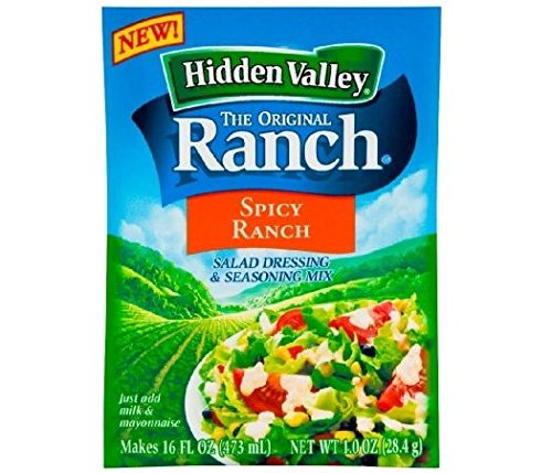 Packet 1 Mix (Hidden Valley Spicy Ranch Salad Dressing & Seasoning Mix (Pack of 4) 1 oz Packets)