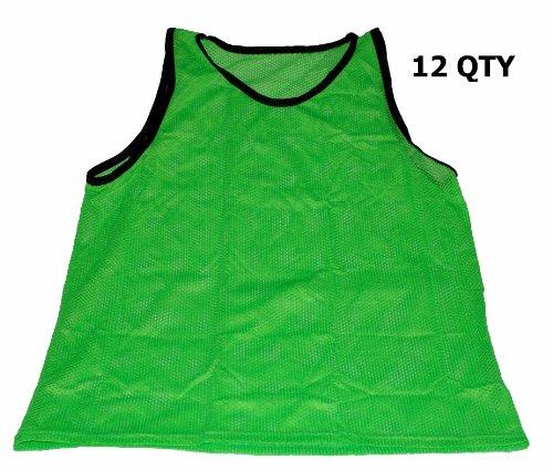 Tall Workoutz Scrimmage Vests (Green) Soccer Pinnies Training Practice Jerseys (Lacrosse Practice Tee)