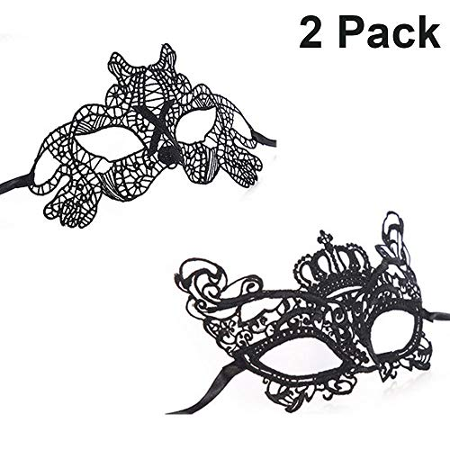 iMapo 2 Pack Lace Masquerade Mardi Gras Ball Face Mask for Women Men Couples for Opera Halloween Dancing Evening Party (Black 2) -