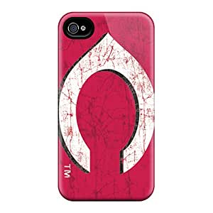 Iphone 4/4s Dww4182KXer Cincinnati Reds Tpu Silicone Gel Case Cover. Fits Iphone 4/4s