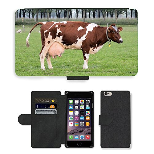 "Just Phone Cases PU Leather Flip Custodia Protettiva Case Cover per // M00127793 Vache Ferme d'élevage lait animal // Apple iPhone 6 4.7"""