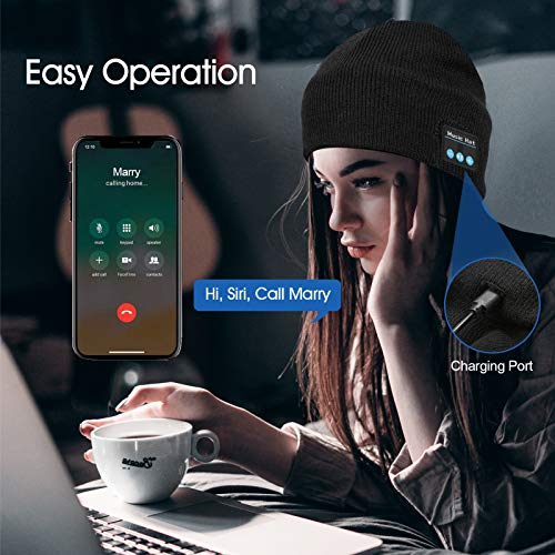 Bluetooth Beanie,V5.0 Bluetooth Hat,Wireless Earphone Beanie Headphones, Men/Women Gifts Music Hat Smart Hat Winter…