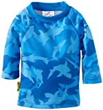 Baby Banz Boys' Long Sleeve Loose Fit Rash Top, Fin Frenzy Pattern, 3-6 Months