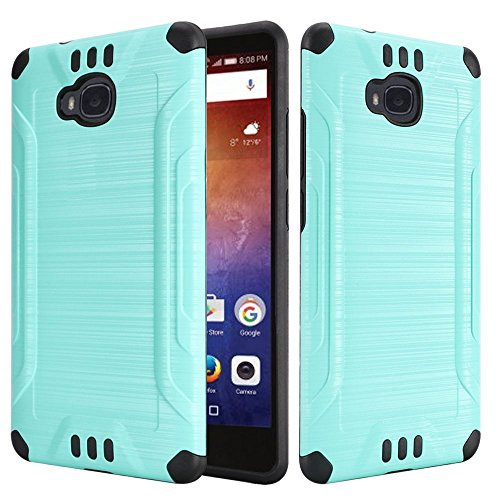 Huawei Ascend XT [AT&T GoPhone H1611] Case Slim Armor Heavy Duty Brushed Metal Metallic Finish TPU Shock Impact Dual Layer Protection (Teal) (Phone Case At&t)
