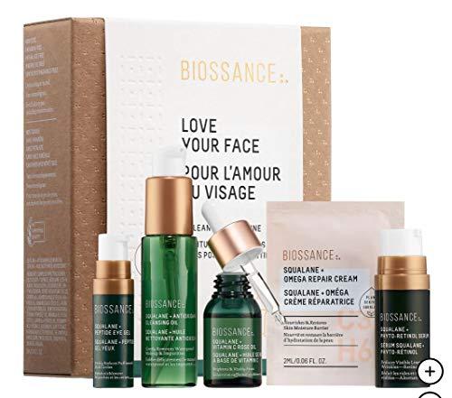 BIOSSANCE Love Your Face: Squalane + Antioxidant Cleansing Oil, Peptide Eye Gel, Phyto-Retinol Serum, Vitamin C Rose Oil, Omega Repair Cream