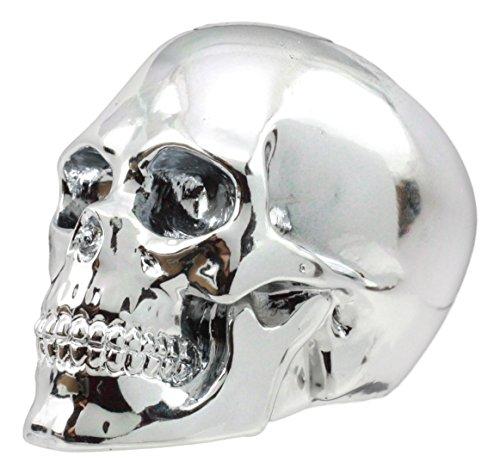 Ebros Electroplated Chrome Skull Shift Knob Metallic Cranium Figurine Auto Styler Manual Lever Shifter Knob