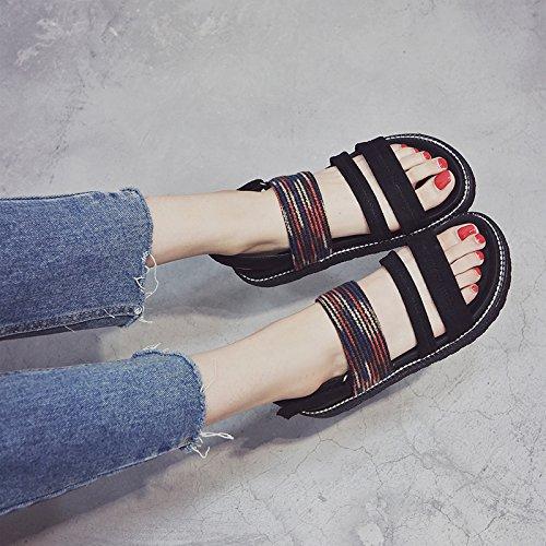 YMFIE El Consuelo de Verano Playa de Fondo Plano Antideslizante Shoes Dama Toe Toe Sandalias. gules