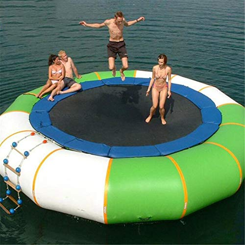 - Inflatable Water Trampoline Bounce Splash Padded Water Bouncer, for Water Sports Jump Water Trampoline Swim Platform, PVC Material