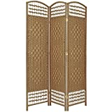 Oriental Furniture Best Simple Good Quality Lighter Room Divider, 5.5-Feet Open Diamond Weave Natural Fiber Folding Screen, Natural, 3 Panel Size