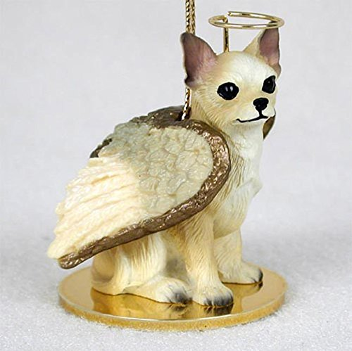 Chihuahua Ornament Angel Figurine Hand Painted White/Tan