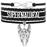 Supernatural Bracelet - Castiel Angel Wings and Pentagram Charms Handmade Black Leather Suede Infinity Love Jewelry Gift