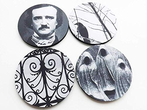 Poe Coasters set of 4 or 6 Halloween Hostess Gift gothic home decor raven cemetery macabre -