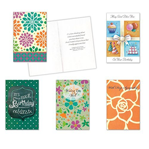 10 All Occasion (Religious) Cards with Envelopes - Boxed Enclosure Cards 5 Different Designs. Fantus Paper 5040-AOR28