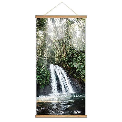 Rain Wall Hanging - wall26 - Hanging Poster with Wood Frames - Waterfall in The Rain Forest - Ready to Hang Decorative Wall Art - 18