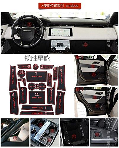 Hireno Tor Slot Pad Cup Matten F/ür Range Rover Velar Gummi Matte Rutschfeste Matten Rot