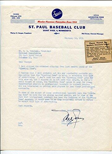Mel Jones St. Paul Saints Baseball Club President GM Signed Autograph 1954 TSL - MLB Autographed Miscellaneous Items
