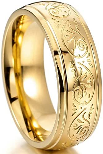 MOWOM Gold 7mm Stainless Steel Ring Band Engraved Florentine Design