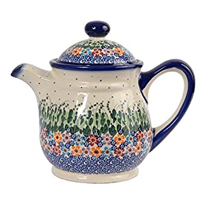 Traditional Polish Pottery, Handcrafted Ceramic 9-Cup Teapot with Lid (1500ml), Boleslawiec Style Pattern, H.601.Daisy